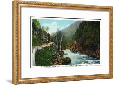 Lake Placid, New York - Hwy View of Ausable River near Wilmington Notch-Lantern Press-Framed Art Print