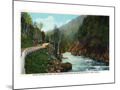 Lake Placid, New York - Hwy View of Ausable River near Wilmington Notch-Lantern Press-Mounted Art Print