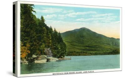 Lake Placid, New York - View of Whiteface Mountain from Moose Island-Lantern Press-Stretched Canvas Print