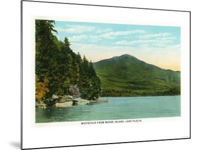 Lake Placid, New York - View of Whiteface Mountain from Moose Island-Lantern Press-Mounted Art Print
