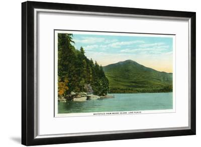 Lake Placid, New York - View of Whiteface Mountain from Moose Island-Lantern Press-Framed Art Print
