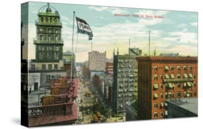 Rochester, New York - Aerial View of Main Street-Lantern Press-Stretched Canvas Print