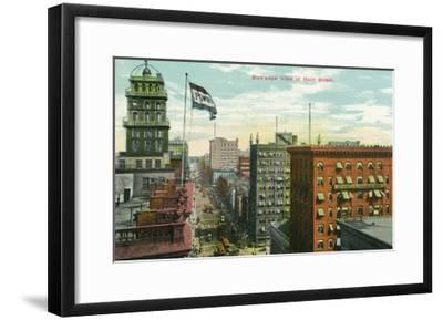 Rochester, New York - Aerial View of Main Street-Lantern Press-Framed Art Print