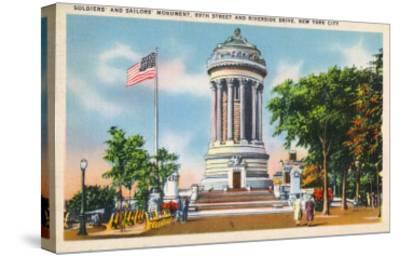 NYC, New York - 89th St & Riverside Drive Soldiers' & Sailors' Monument-Lantern Press-Stretched Canvas Print