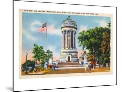 NYC, New York - 89th St & Riverside Drive Soldiers' & Sailors' Monument-Lantern Press-Mounted Art Print