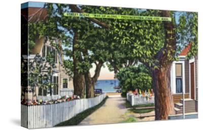 Provincetown, Massachusetts - Street Scene of Residences-Lantern Press-Stretched Canvas Print