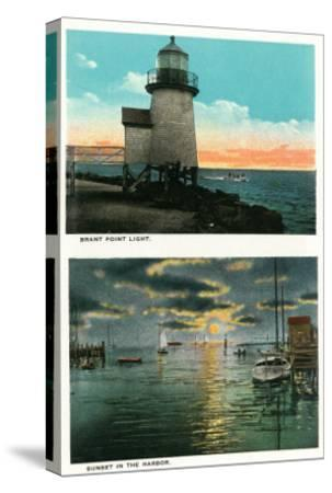 Nantucket, Massachusetts - View of the Brant Point Lighthouse-Lantern Press-Stretched Canvas Print