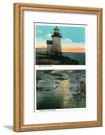 Nantucket, Massachusetts - View of the Brant Point Lighthouse-Lantern Press-Framed Art Print