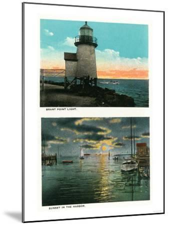 Nantucket, Massachusetts - View of the Brant Point Lighthouse-Lantern Press-Mounted Art Print