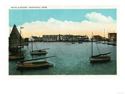 Nantucket, Massachusetts - View of White Elephant-Lantern Press-Framed Art Print