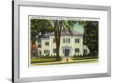 Lexington, Massachusetts - View of the 1st Normal School in America-Lantern Press-Framed Art Print