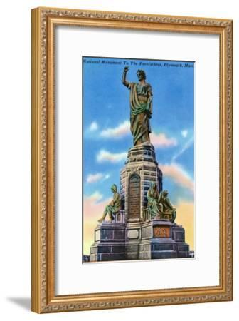 Plymouth, Massachusetts - View of National Monument to US Forefathers-Lantern Press-Framed Art Print