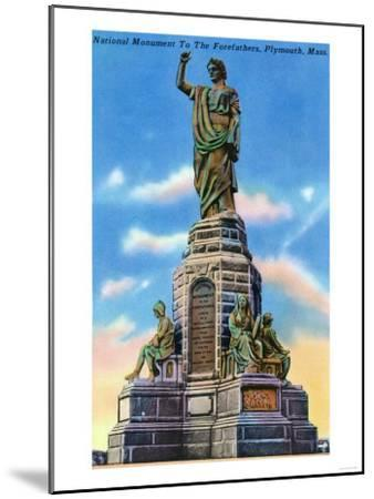 Plymouth, Massachusetts - View of National Monument to US Forefathers-Lantern Press-Mounted Art Print