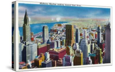 NYC, New York - Midtown Skyline View towards East River-Lantern Press-Stretched Canvas Print