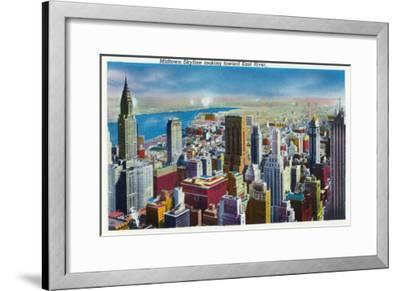 NYC, New York - Midtown Skyline View towards East River-Lantern Press-Framed Art Print