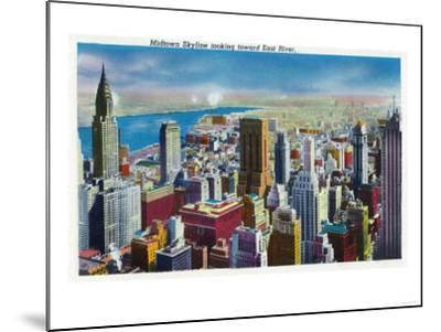 NYC, New York - Midtown Skyline View towards East River-Lantern Press-Mounted Art Print
