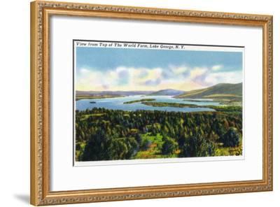 Lake George, New York - Top of the World Farm View of the Lake-Lantern Press-Framed Art Print
