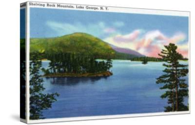 Lake George, New York - Lake View of Shelving Rock Mountain-Lantern Press-Stretched Canvas Print