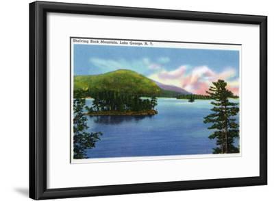 Lake George, New York - Lake View of Shelving Rock Mountain-Lantern Press-Framed Art Print
