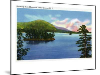 Lake George, New York - Lake View of Shelving Rock Mountain-Lantern Press-Mounted Art Print