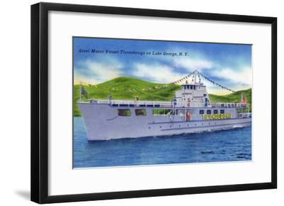 Lake George, New York - Steel Motor Vessel Ticonderoga on Lake-Lantern Press-Framed Art Print