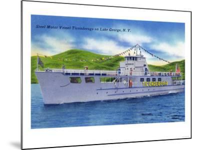 Lake George, New York - Steel Motor Vessel Ticonderoga on Lake-Lantern Press-Mounted Art Print