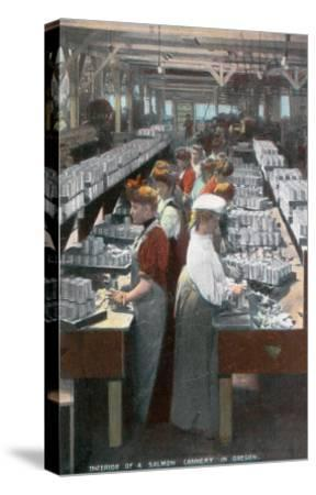 Oregon - Interior View of Salmon Cannery Workers Canning-Lantern Press-Stretched Canvas Print