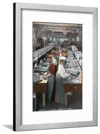 Oregon - Interior View of Salmon Cannery Workers Canning-Lantern Press-Framed Art Print
