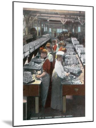 Oregon - Interior View of Salmon Cannery Workers Canning-Lantern Press-Mounted Art Print