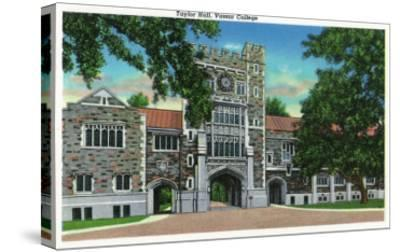 Poughkeepsie, New York - Exterior View of Taylor Hall, Vassar College-Lantern Press-Stretched Canvas Print