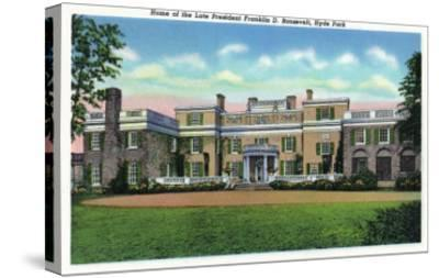 Poughkeepsie, New York - Hyde Park View of President FDR's Mansion-Lantern Press-Stretched Canvas Print