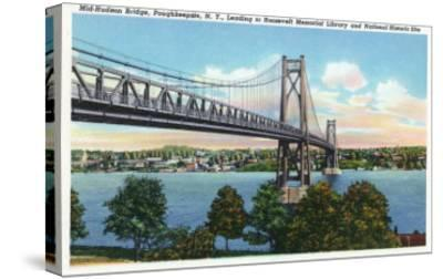 Poughkeepsie, New York - Mid-Hudson Bridge to Roosevelt National Historic Site-Lantern Press-Stretched Canvas Print