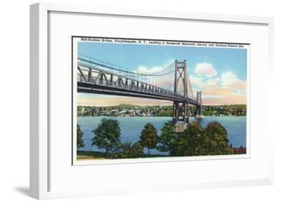 Poughkeepsie, New York - Mid-Hudson Bridge to Roosevelt National Historic Site-Lantern Press-Framed Art Print