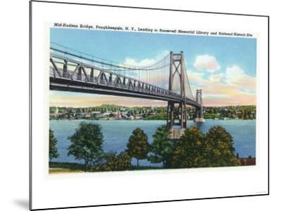 Poughkeepsie, New York - Mid-Hudson Bridge to Roosevelt National Historic Site-Lantern Press-Mounted Art Print