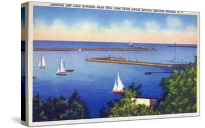Oswego, New York - Lake Ontario View near NY State Naval Militia Grounds-Lantern Press-Stretched Canvas Print