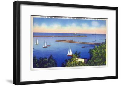Oswego, New York - Lake Ontario View near NY State Naval Militia Grounds-Lantern Press-Framed Art Print