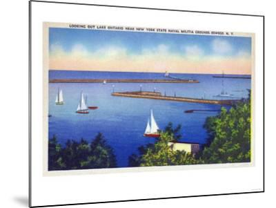Oswego, New York - Lake Ontario View near NY State Naval Militia Grounds-Lantern Press-Mounted Art Print