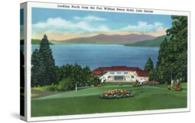Lake George, New York - Northern View of Lake from Ft William Henry Hotel-Lantern Press-Stretched Canvas Print
