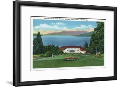 Lake George, New York - Northern View of Lake from Ft William Henry Hotel-Lantern Press-Framed Art Print