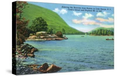 Lake George, New York - Huletts Entrance to Narrows, Cook's Island View-Lantern Press-Stretched Canvas Print