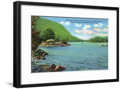 Lake George, New York - Huletts Entrance to Narrows, Cook's Island View-Lantern Press-Framed Art Print