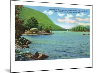 Lake George, New York - Huletts Entrance to Narrows, Cook's Island View-Lantern Press-Mounted Art Print
