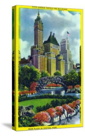 NYC, New York - Central Park Plaza View of 5th Ave Hotels and Bldgs-Lantern Press-Stretched Canvas Print