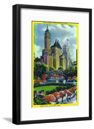 NYC, New York - Central Park Plaza View of 5th Ave Hotels and Bldgs-Lantern Press-Framed Art Print