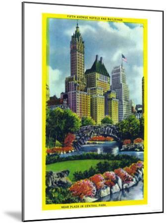 NYC, New York - Central Park Plaza View of 5th Ave Hotels and Bldgs-Lantern Press-Mounted Art Print