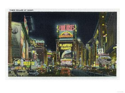 NYC, New York - View of Times Square at Night No. 2-Lantern Press-Framed Art Print