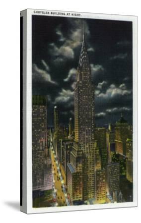 NYC, New York - Chrysler Building at Night No. 2-Lantern Press-Stretched Canvas Print