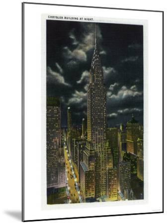 NYC, New York - Chrysler Building at Night No. 2-Lantern Press-Mounted Art Print