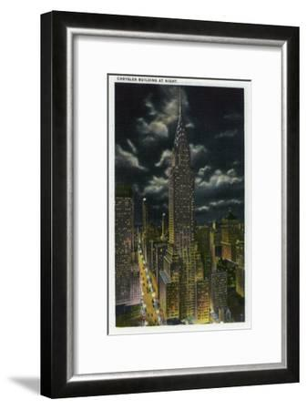 NYC, New York - Chrysler Building at Night No. 2-Lantern Press-Framed Art Print