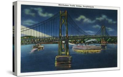 Poughkeepsie, New York - Night View of Mid-Hudson Traffic Bridge-Lantern Press-Stretched Canvas Print